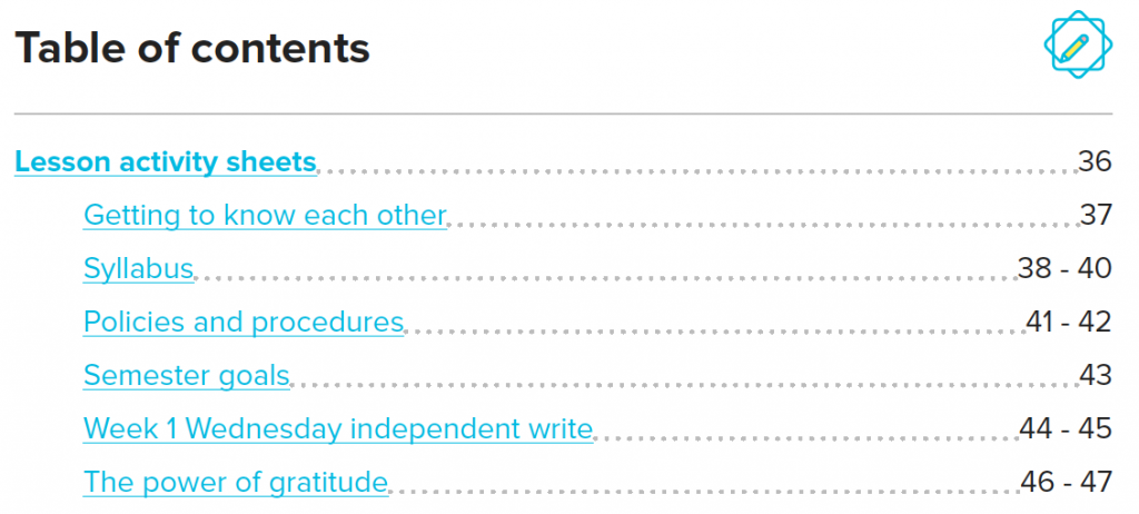 hyperlinks on the table of contents