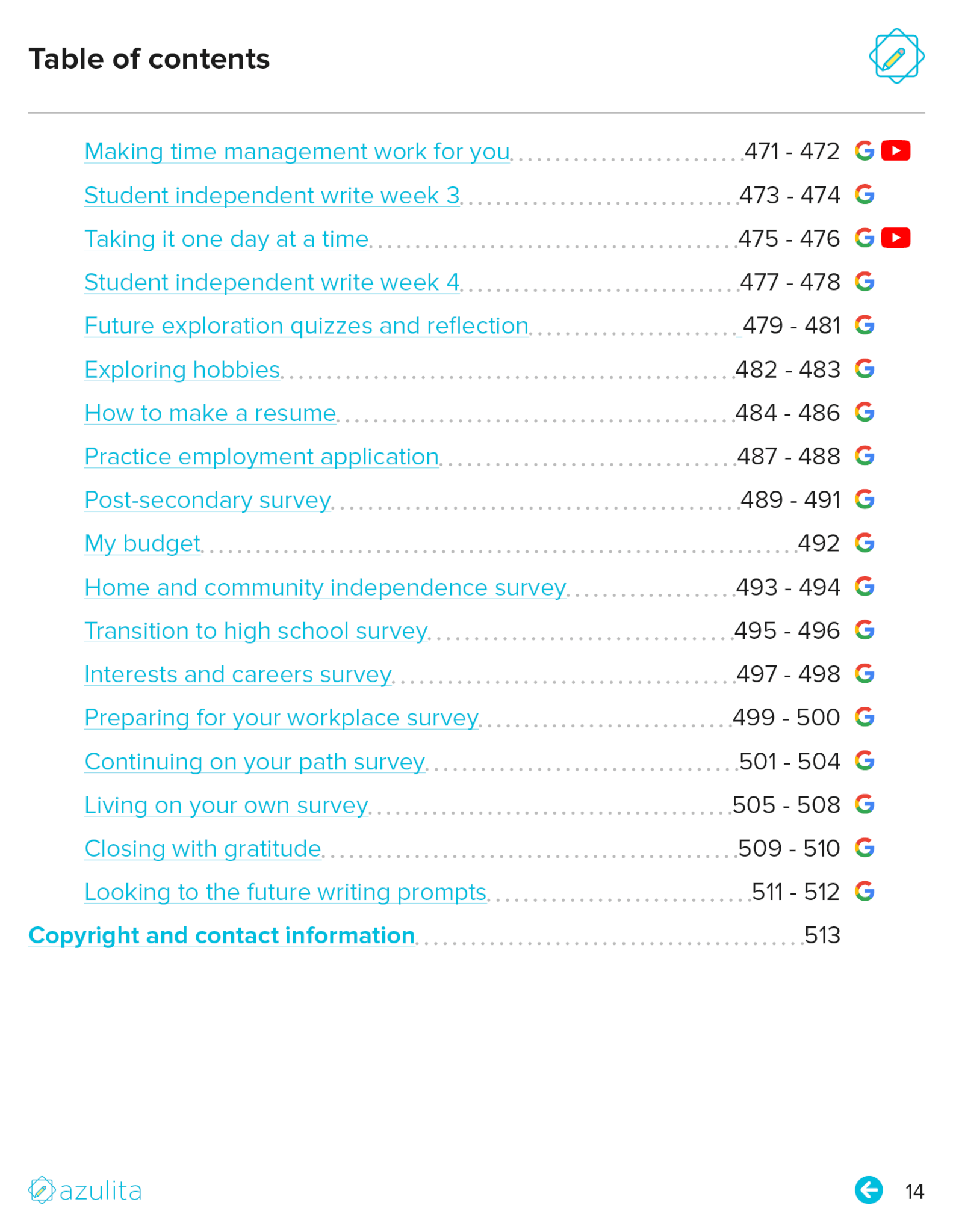 Table of contents page 14